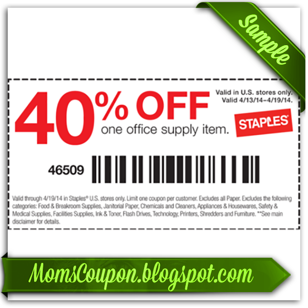 "Use today's Staples coupons and in-store offers to save up to 50% off your order online or in-store. How to Use a Staples Coupon Code Online Step-By-Step. Add desired item(s) to the shopping cart. Click the shopping cart icon on the top right corner. Enter your code into the box that says ""Coupon Code."